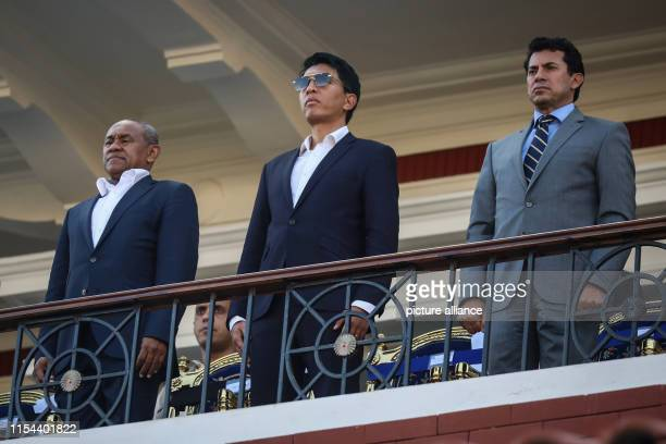 Confederation of African Football President Ahmad Ahmad Madagascar's President Andry Rajoelina and Egyptian Minister of Sports Ashraf Sobhy attend...