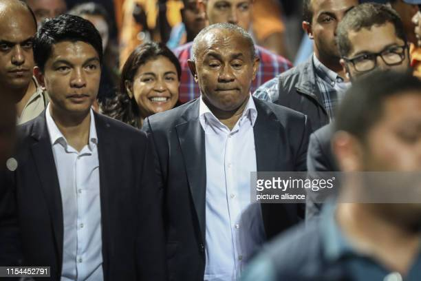 Confederation of African Football President Ahmad Ahmad and Madagascar's President Andry Rajoelina after the 2019 Africa Cup of Nations round of 16...
