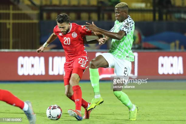 Tunisia's Ghaylene Chaalali vies for the ball with Nigeria's Victor Osimhen during the 2019 Africa Cup of Nations third place final soccer match...