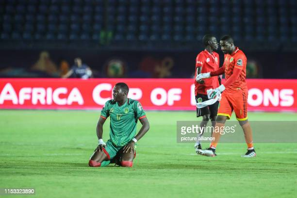 Mauretania's players Souleymane Anne reacts after the final whistle of the 2019 Africa Cup of Nations Group E soccer match between Mauritania and...