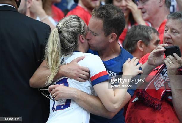July 2019, France , Décines-Charpieu: Football, women: WM, USA - Netherlands, final round, final, Stade de Lyon: Morgan Brian from the USA kisses her...