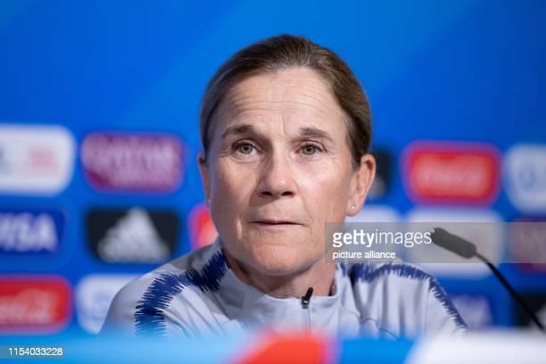 July 2019, France , Décines-Charpieu: Football, women: World Cup, national team, USA, final press conference: Jill Ellis, coach of the women's...