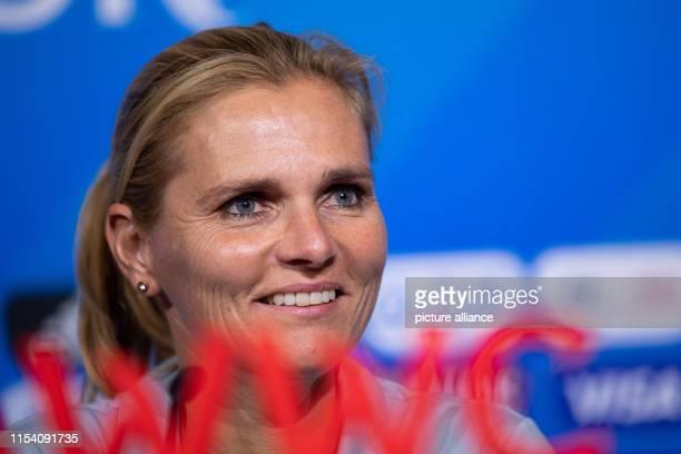 July 2019, France , Décines-Charpieu: Football, women: World Cup, national team, Netherlands, final press conference: Sarina Wiegman, coach of the...