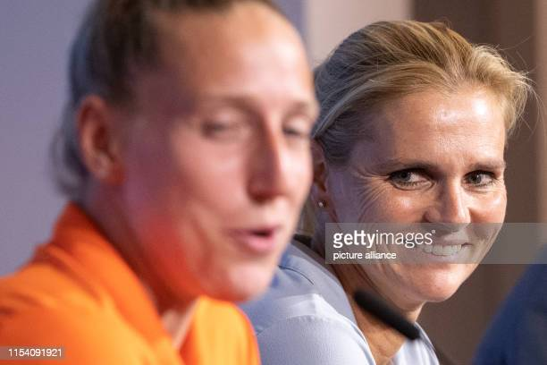 July 2019, France , Décines-Charpieu: Football, women: World Cup, national team, Netherlands, final press conference: Sarina Wiegman , coach of the...