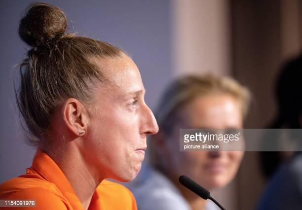 July 2019, France , Décines-Charpieu: Football, women: World Cup, national team, Netherlands, final press conference: goalkeeper Sari van Veenendaal...