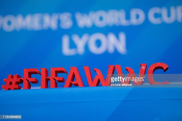 """July 2019, France , Décines-Charpieu: Football, women: World Cup, national team, Netherlands, final press conference: The lettering """"#FIFAWWC"""" stands..."""