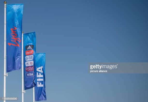 July 2019, France , Décines-Charpieu: Football, women: World Cup, Netherlands - Sweden, final round, semi-final, Stade de Lyon: FIFA flags are waving...