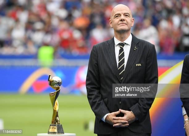 July 2019, France , Décines-Charpieu: Football, women: World Cup, USA - Netherlands, final round, final, Stade de Lyon: Gianni Infantino, FIFA...