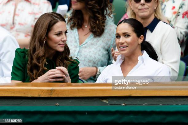 Tennis Grand Slam/WTATour Wimbledon singles women final S Williams Halep Kate Duchess of Cambridge and Meghan Duchess of Sussex follow the match...