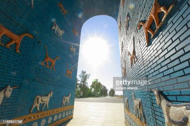 A general view of a replica of Ishtar Gate at the site of Babylon a kingdom in ancient Mesopotamia now located in modern day city of Hillah The site...