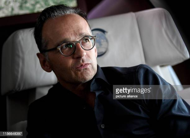 Heiko Maas Foreign Minister speaks to the journalists on the return flight of his trip to Italy The reason for the trip was the return of the...