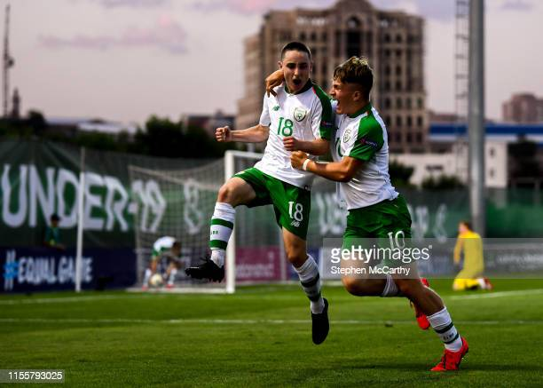 July 2019 Joe Hodge left celebrates with his Republic of Ireland teammate Matt Everitt after scoring his side's first goal during the 2019 UEFA...
