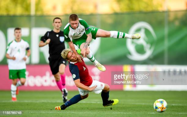 July 2019 Kameron Ledwidge of Republic of Ireland and Erik Sandberg of Norway during the 2019 UEFA European U19 Championships group B match between...