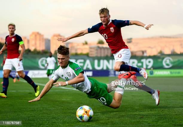 July 2019 Matt Everitt of Republic of Ireland and Halldor Stenevik of Norway during the 2019 UEFA European U19 Championships group B match between...