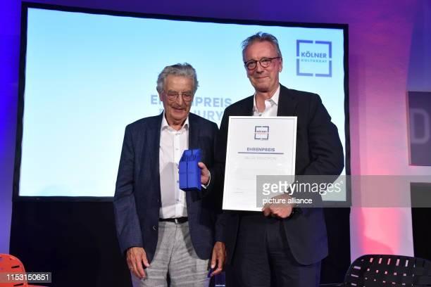 July 2019, North Rhine-Westphalia, Cologne: Gerhart Baum and prize winner of the Ehrenpreis Verleger Helge Malchow at the presentation of the Cologne...