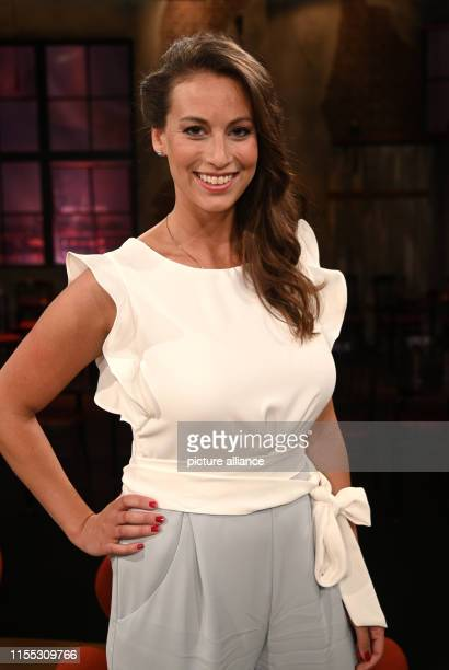 12 July 2019 North RhineWestphalia Cologne The presenter Caroline Bosbach stands in the studio after the recording of the WDR talk show Kölner Treff...
