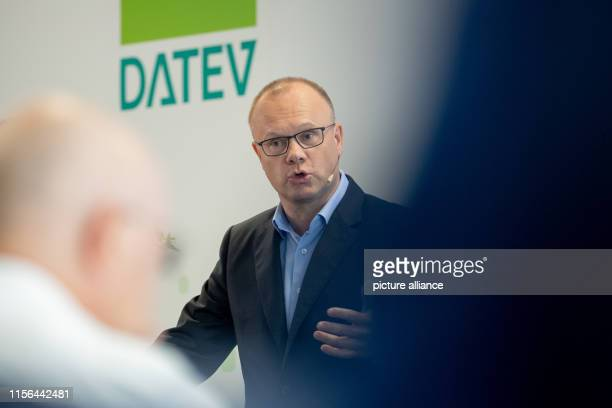Robert Mayr CEO of the IT service provider Datev eG speaks at the Datev IT Campus during the company's annual press conference Photo Daniel...