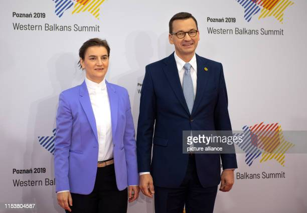 Ana Brnabic Prime Minister of Serbia will be welcomed on her arrival at the Western Balkans Summit by Mateusz Morawiecki Prime Minister of Poland The...