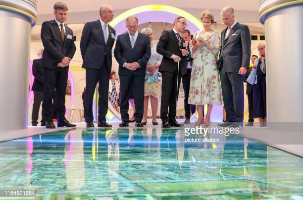 Christof Günther Managing Director of InfraLeuna GmbH explains the Leuna Chemical Park to the Belgian royal couple King Philippe and Queen Mathilde...
