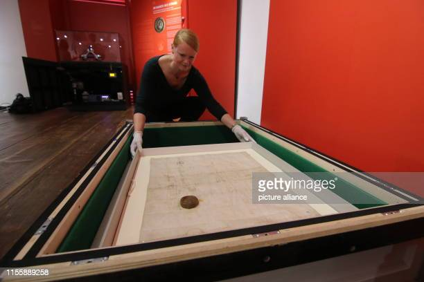 July 2019, Saxony-Anhalt, Quedlinburg: An employee of the city museum in Quedlinburg opens an air-conditioned box with a special document of King...