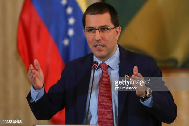 Jorge Arreaza Venezuelan Foreign Minister speaks at a press conference Arreaza commented on the normalization process of diplomatic relations with...