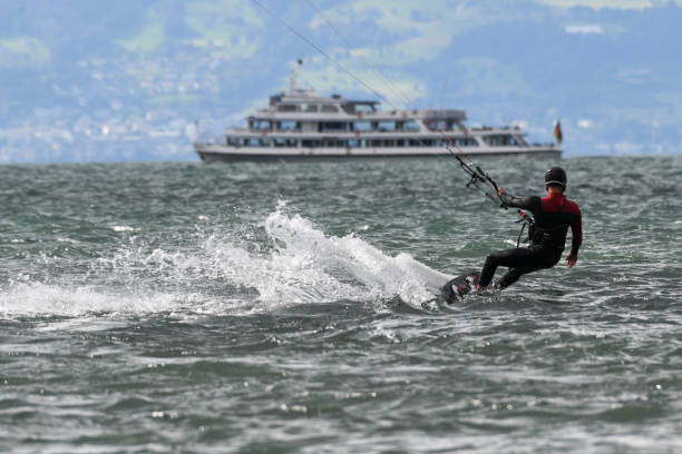 DEU: Kitesurfing At Lake Constance