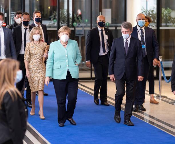 BEL: German Chancellor Angela Merkel Visits The EU Parliament