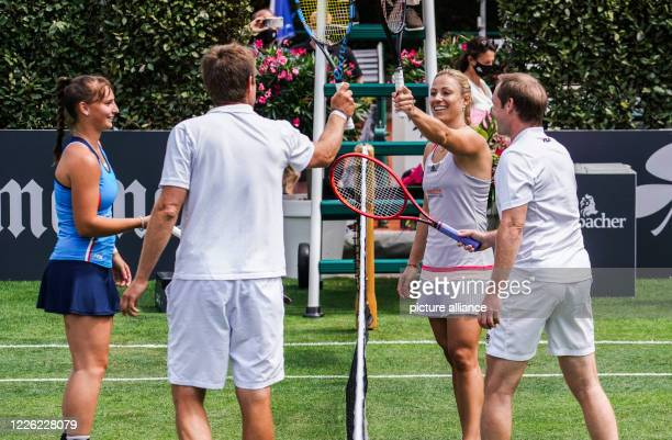 July 2020, Hessen, Bad Homburg: After a show-mixed opening of the Bad Homburg Center Court, young player Mara Guth, Davis Cup team boss Michael...