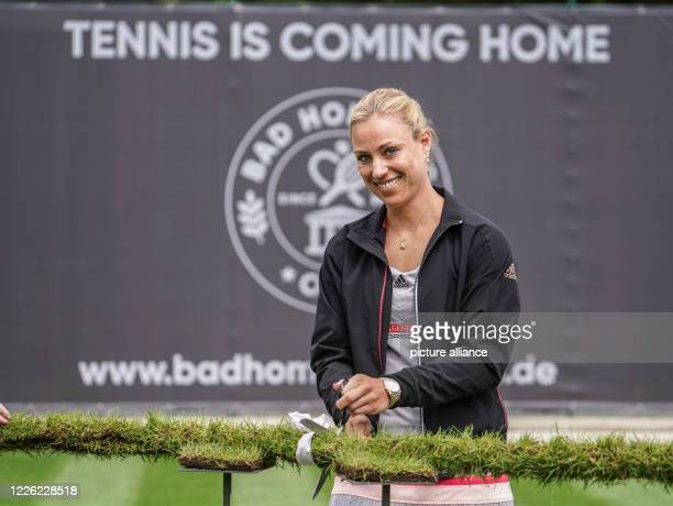 July 2020, Hessen, Bad Homburg: At the opening of the Bad Homburg Center Court, three-time Grand Slam tournament winner Angelique Kerber will...