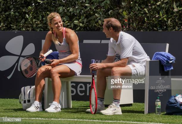 July 2020, Hessen, Bad Homburg: In a mixed show at the opening of the Bad Homburg Center Courts, three-time Grand Slam tournament winner Angelique...