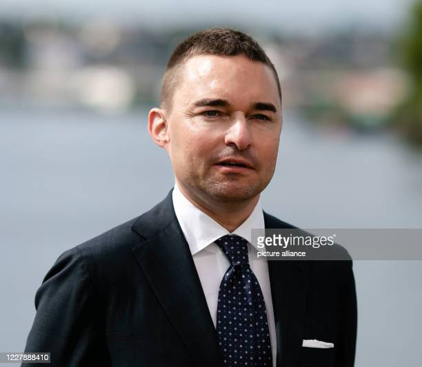 July 2020, Schleswig-Holstein, Flensburg: Investor Lars Windhorst from Tennor Holding is standing at the pier of the Flensburger...