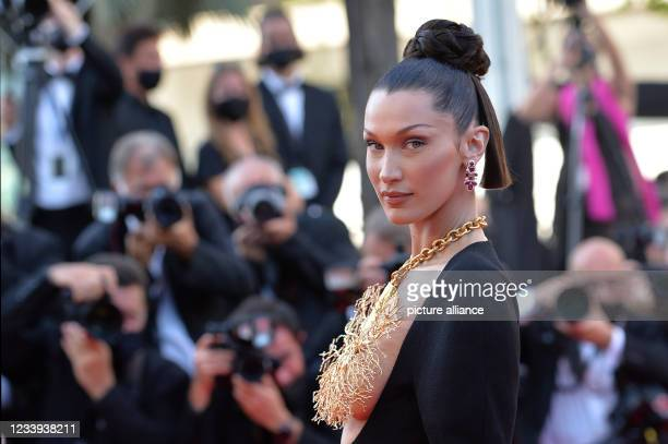 """July 2021, France, Cannes: Model Bella Hadid attends the screening of the film """"Tre Piani"""" during the 74th Annual Cannes Film Festival at Palais des..."""