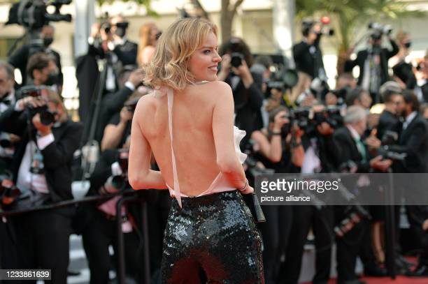"""July 2021, France, Cannes: Model Eva Herzigova attends the screening of the film """"Tout s'est bien passé"""" during the 74th Annual Cannes Film Festival..."""