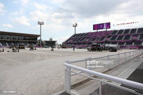 July 2021, Japan, Tokio: Equestrian sport/dressage: Olympia, preliminary competition, individual, Grand Prix, at the Baji Koen Equestrian Park. The...