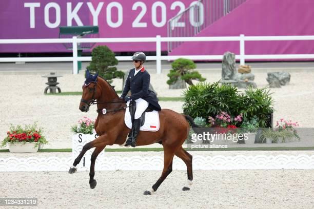 July 2021, Japan, Tokio: Equestrian Sport/Eventing: Olympic, Preliminary, Individual, Dressage, Baji Koen Equestrian Park. Ludwig Svennerstal from...