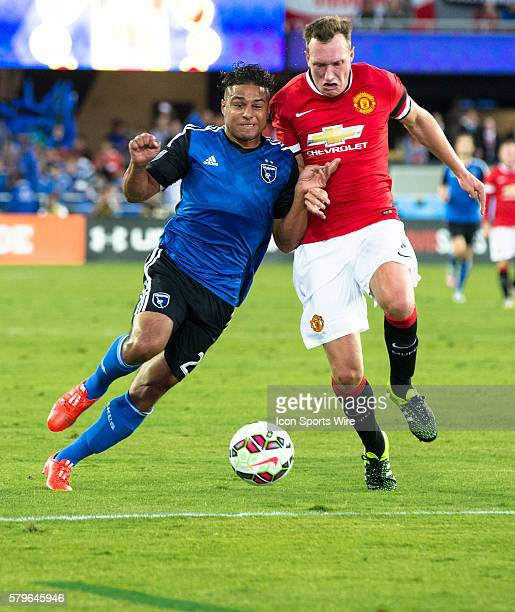 San Jose Earthquakes midfielder Leandro Barrera and Manchester United defender Phil Jones battle for possession during the International Champions...