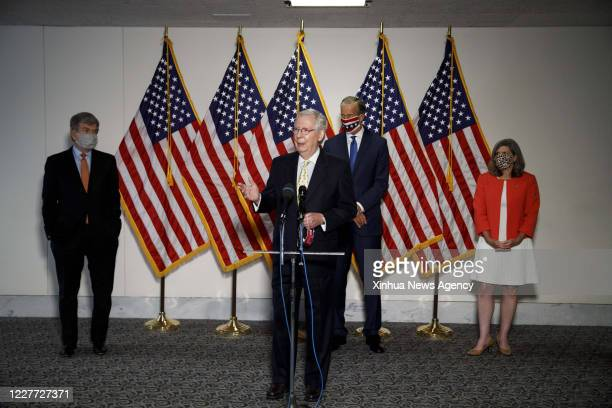 July 21, 2020 -- U.S. Senate Majority Leader Mitch McConnell Front speaks during a press conference on Capitol Hill in Washington, D.C., the United...