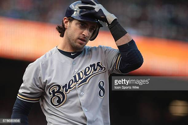 Milwaukee Brewers left fielder Ryan Braun after striking out during the first inning of the San Francisco Giants 42 victory over the Milwaukee...