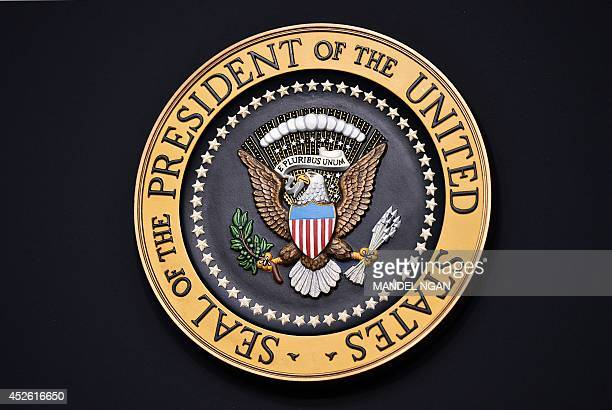 A July 22 2014 photo shows the presidential seal seen on a lectern before US President Barack Obama arrived for a signing ceremony for HR 803 the...