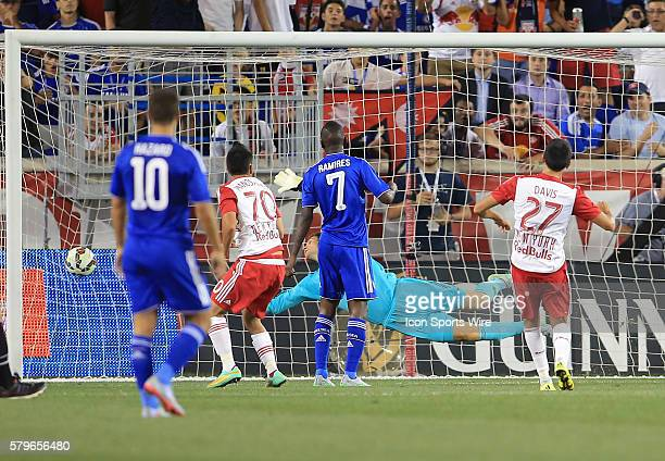 Asmir Begovic of Chelsea can't stop a shot by Sean Davis for the third goal for the New York Red Bulls during an International Champions Cup match at...