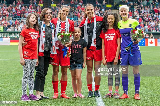 Prematch ceremony honors the USWNT players winners of the 2015 Women's World Cup Portland Thorns Tobin Heath Alex Morgan and Seattle Reign Megan...