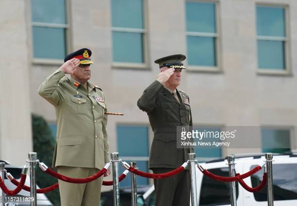 WASHINGTON July 22 2019 Chairman of the US Joint Chiefs of Staff Joseph Dunford R holds a welcome ceremony for Pakistani Chief of Army Staff Qamar...