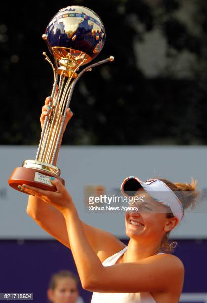 BUCHAREST July 23 2017 IrinaCamelia Begu of Romania holds the trophy during the awarding cremony for the final match of BRD Bucharest Open WTA tennis...