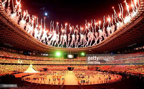 July 23, 2021: Fireworks light the sky during opening ceremonies at the 2020 Tokyo Olympics.