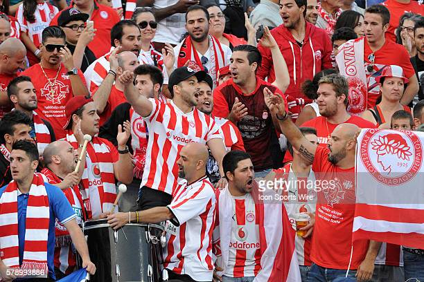 Olympiacos supporters cheer during the International Champions Cup match where Olympiacos defeated AC Milan 30 at BMO Field in Toronto ON