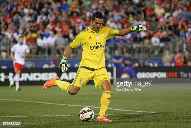 SL Benfica goalkeeper Julio Cesar clears the ball SL Benfica and ACF Fiorentina in a Guiness International Champions Cup match at Rentschler Field in...