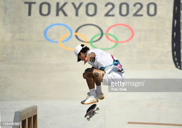 July 24, 2021: USAs Nyjah Huston competes in the mens street prelims at the 2020 Tokyo Olympics. Huston moved on to the finals later in the afternoon.