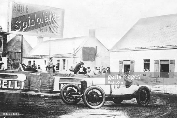 Joe Boyer of Detroit MI takes a corner during the French Grand Prix which was held at Circuit de la Sarthe The engine failed in Boyer's Duesenberg on...