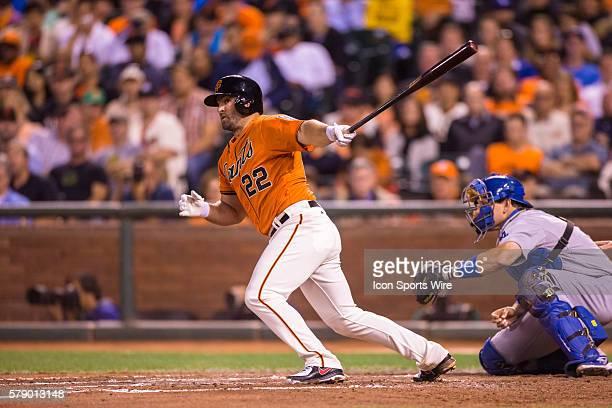 San Francisco Giants second baseman Dan Uggla at bat and following the trajectory of the ball during the game between the San Francisco Giants and...