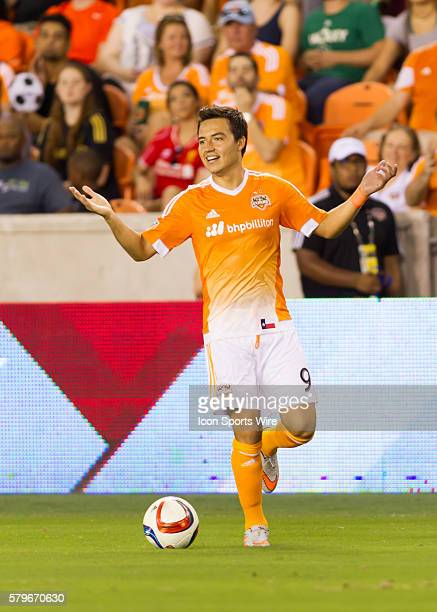 Houston Dynamo forward Erick Torres goes off sides during the MLS match between the LA Galaxy and Houston Dynamo at BBVA Compass Stadium in Houston TX